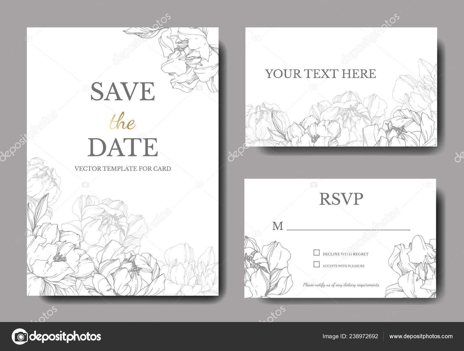 Vector: elegant white backgrounds | Vector Wedding Elegant Invitation Cards  Silver Peonies Illustration White Background — Stock Vector © AndreYanush  #238972692