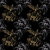 Vektor bílé a zlaté izolované pivoňky skica na černém pozadí. Ryté inkoust umění. Vzor bezešvé pozadí. Fabric tapety tisku textura