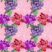 Vektor lila und lebende Korallen isolierte Pfingstrosen Illustration auf rosa Hintergrund. Tuschebilder. nahtlose Hintergrundmuster. Stoff Tapete drucken Textur.