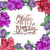 Vektor élő korallok és a lila elszigetelt pünkösdi rózsa, fehér háttér. Vésett tinta art. Test határ dísz a boldog születésnapot felirat.