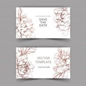 Vektor esküvői elegáns meghívók, arany pünkösdi rózsa, fehér háttér mentése a dátum felirat.