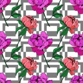 Fotografie Vector purple and living coral peonies illustration with geometrical ornament. Engraved ink art. Seamless background pattern. Fabric wallpaper print texture.