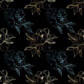 Fotografia Le peonie isolate dorate e blue vettore schizzo su priorità bassa nera. Arte di inchiostro inciso. Reticolo senza giunte della priorità bassa. Stampa tessuto per tappezzeria