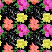 Vektor lila, élő illusztráció korall és sárga elszigetelt pünkösdi rózsa, a fekete háttér. Vésett tinta art. Varratmentes háttérben minta. Anyagot a nyomtatási textúrát.