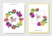 Fotografie Vector wedding elegant invitation cards with purple, yellow and living coral peonies illustration on white background.