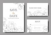 Vektor esküvői elegáns meghívók fehér alapon ezüst pünkösdi rózsa illusztráció.