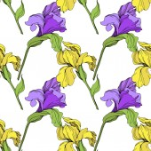Fotografie Vector isolated purple and yellow irises. Seamless background pattern. Fabric wallpaper print texture.