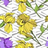 Vektor, samostatný fialové a žluté kosatce. Vzor bezešvé pozadí. Fabric tapety tisku textura