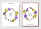 Fotografie Vektor elegantní svatební pozvánky s kosatce žluté a fialové