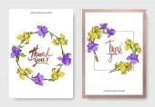 Inviti di nozze elegante vettoriale con le iridi gialle e viola