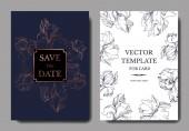 Vector elegant wedding invitation cards with yellow and purple irises.