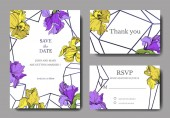 Vector elegant wedding invitation cards with yellow and purple irises.