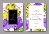 Fotografie Vector elegant wedding invitation cards with yellow and purple irises.