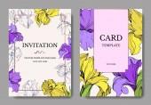 Fotografie Vector elegant wedding invitation cards with yellow and purple irises.