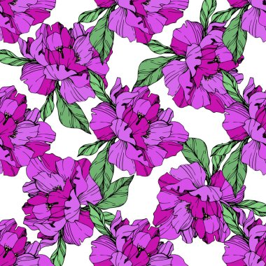 Vector purple isolated peonies illustration on white background. Engraved ink art. Seamless background pattern. Fabric wallpaper print texture. stock vector