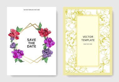 Vector wedding elegant invitation cards with purple, yellow and living coral peonies on white background with save the date and thank you inscriptions. clip art vector