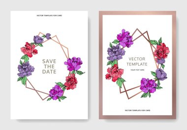 Vector elegant cards with purple and living coral peonies on white background and sale and save the date inscription. stock vector