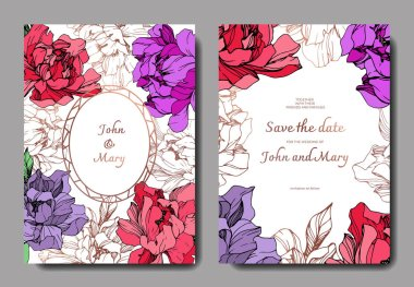 Vector wedding elegant invitation cards with purple, golden and living coral peonies on white background with save the date inscription. clip art vector