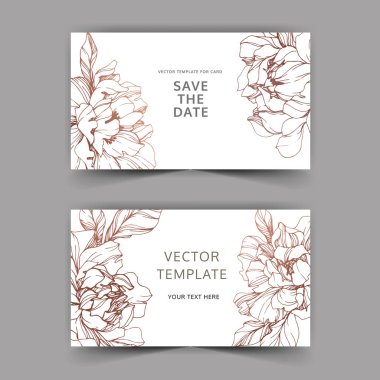Vector wedding elegant invitation cards with golden peonies on white background with save the date inscription. clip art vector