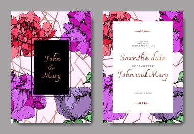 Vector wedding elegant invitation cards with purple, yellow and living coral peonies on pink background with save the date inscription.