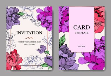 Vector wedding elegant invitation cards with purple and living coral peonies on beige background. stock vector