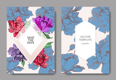 Vector wedding elegant invitation cards with purple, blue and living coral peonies on beige background with save the date inscription. clip art vector