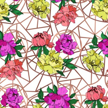 Vector purple, living coral and yellow peonies illustration with geometrical ornament. Engraved ink art. Seamless background pattern. Fabric wallpaper print texture.
