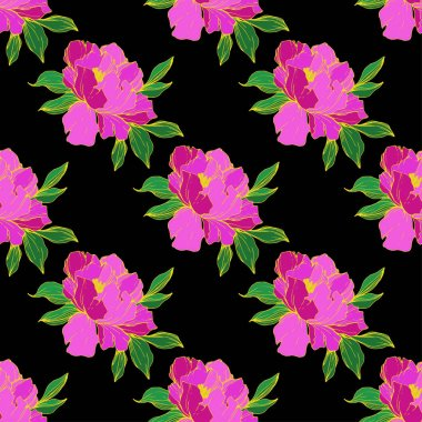Vector purple isolated peonies illustration on black background. Engraved ink art. Seamless background pattern. Fabric wallpaper print texture. stock vector