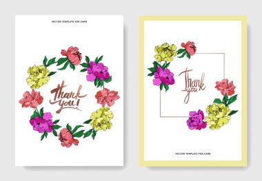 Vector wedding elegant invitation cards with purple, yellow and living coral peonies illustration on white background. clip art vector