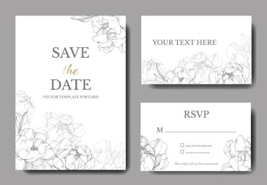 Vector wedding elegant invitation cards with silver peonies illustration on white background. stock vector