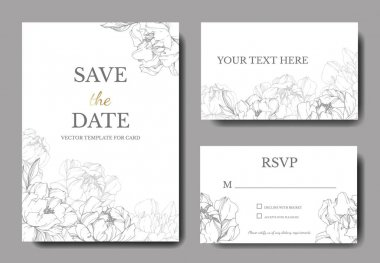 Vector wedding elegant invitation cards with silver peonies illustration on white background.