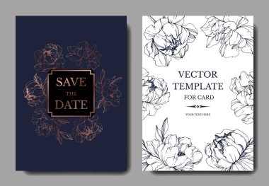 Vector wedding elegant dark blue and white invitation cards with peonies illustration.