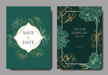 Vector wedding elegant green invitation cards with golden peonies illustration.