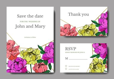 Vector wedding elegant invitation cards with purple, yellow and living coral peonies illustration on white background. stock vector