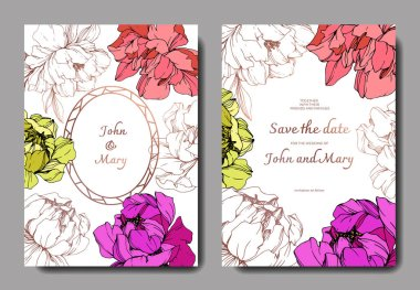 Vector wedding elegant invitation cards with purple, yellow and living coral peonies illustration on white background.
