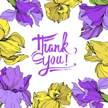 Vector yellow and purple isolated irises illustration. Frame border ornament with thank you lettering. clip art vector