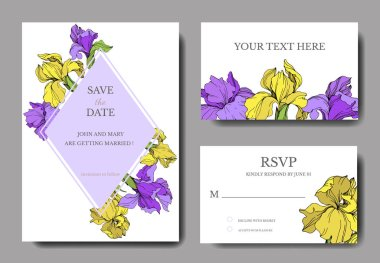 Vector elegant wedding invitation cards with yellow and purple irises. clip art vector