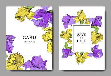 Vector elegant wedding invitation cards with yellow and purple irises. stock vector