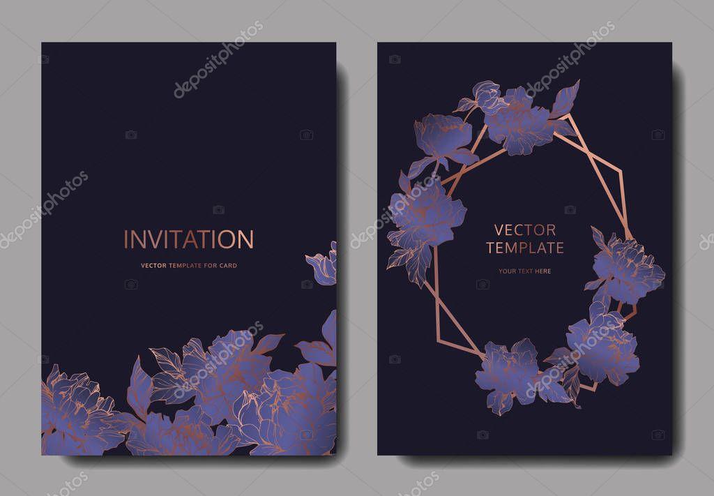 Vector wedding elegant invitation cards with purple peonies on black background.