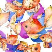 Akvarell vízi színes aranyhal színes absztrakt illusztráció. Varratmentes háttérben minta. Anyagot a nyomtatási textúrát