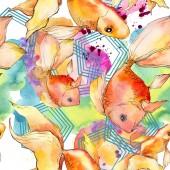 Fényképek Akvarell vízi színes aranyhal színes absztrakt illusztráció. Varratmentes háttérben minta. Anyagot a nyomtatási textúrát