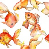 Watercolor aquatic colorful goldfishes isolated on white illustration set. Seamless background pattern. Fabric wallpaper print texture.