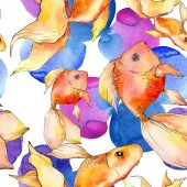 Goldfishes colorato acquatico dellacquerello con illustrazione astratta variopinta. Reticolo senza giunte della priorità bassa. Stampa tessuto per tappezzeria