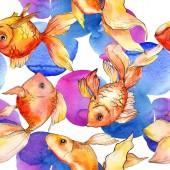 Fotografie Akvarelu vodní barevné goldfishes s abstraktní barevné ilustrace. Vzor bezešvé pozadí. Fabric tapety tisku textura
