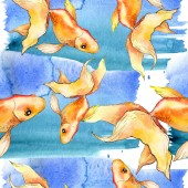 Fotografie Watercolor aquatic colorful goldfishes with colorful abstract illustration. Seamless background pattern. Fabric wallpaper print texture.