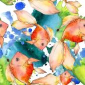 Akvarell vízi színes aranyhal színes absztrakt illusztráció. Varratmentes háttérben minta. Anyagot a nyomtatási textúrát.