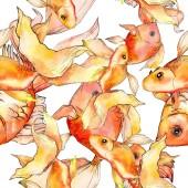 Fotografie Sada akvarel vodní barevné goldfishes izolované na bílém ilustrace. Vzor bezešvé pozadí. Fabric tapety tisku textura