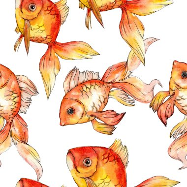 Watercolor aquatic colorful goldfishes isolated on white illustration set. Seamless background pattern. Fabric wallpaper print texture. stock vector