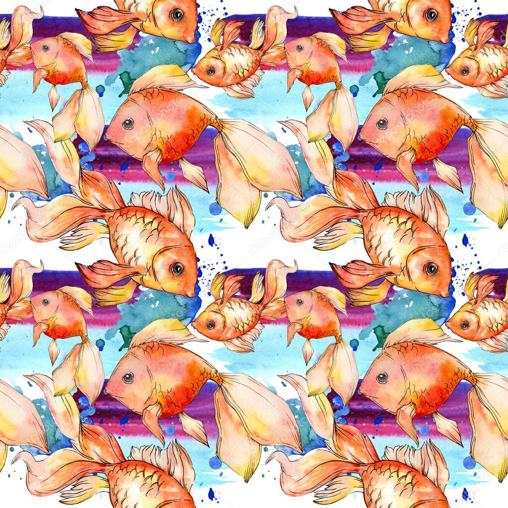 Watercolor aquatic colorful goldfishes with colorful abstract illustration. Seamless background pattern. Fabric wallpaper print texture. stock vector