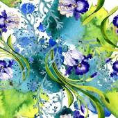 Kék írisz virág botanikai virág. Vad tavaszi levél elszigetelt. Akvarell illusztráció készlet. Akvarell rajz divat aquarelle. Varratmentes háttérben minta. Anyagot a nyomtatási textúrát
